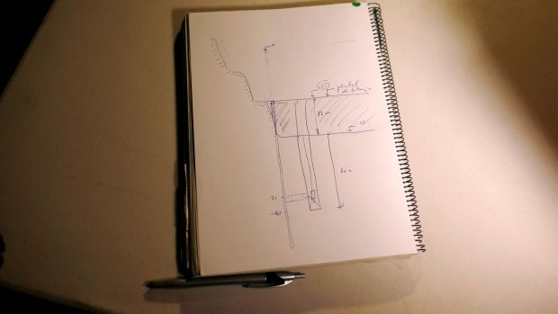 A drawing in a notebook by Angel Garcia, delegate of Málaga's civil engineers. Photograph: Reuters/Jon Nazca