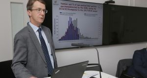 Dr John Cuddihy, HSE director of public health, delivering a briefing  on  the flu season