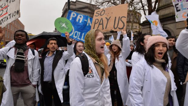 Pharmacy students rally outside the Dáil to express their anger at unpaid placements and increased fees. Photograph: Alan Betson/The Irish Times