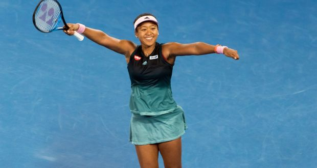 Naomi Osaka of Japan celebrates her victory over Karolina Pliskova  at the Australian Open in Melbourne.  Osaka won, 6-2, 4-6, 6-4. Photograph: Asanka Brendon Ratnayake/The New York Times)