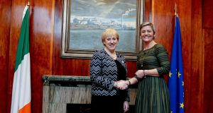 Minister for Enterprise Heather Humphreys meets with EU competition commissioner Margrethe Vestager in Dublin.