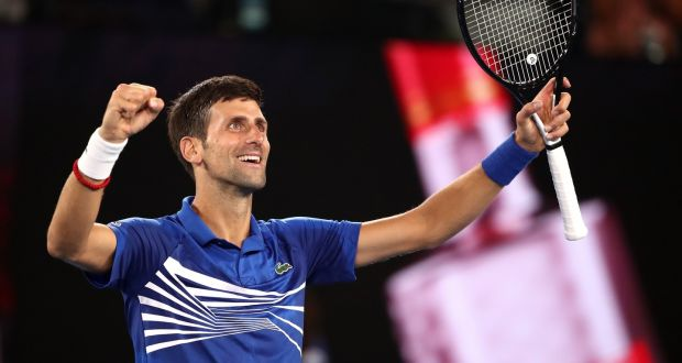 Novak Djokovic celebrates victory over Lucas Pouille. Photograph:Scott Barbour/Getty