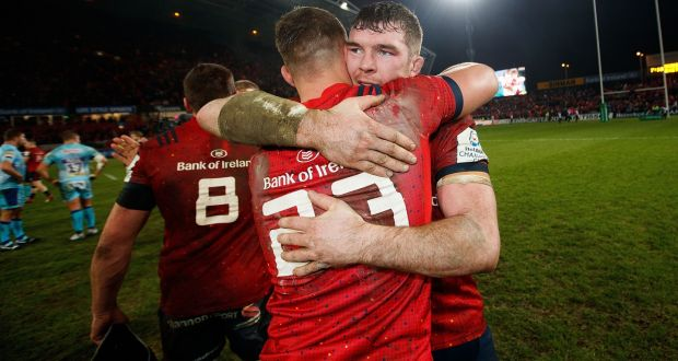 Peter O'Mahony and Dan Goggin celebrate Munster's win over Exeter which secured their place in the Champions Cup knockouts. Photograph: Tommy Dickson/Inpho