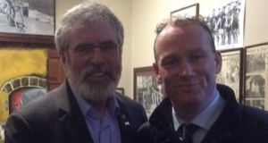 A file image of Cllr David Doran (right) and former  Sinn Féin president Gerry Adams. Image via Twitter