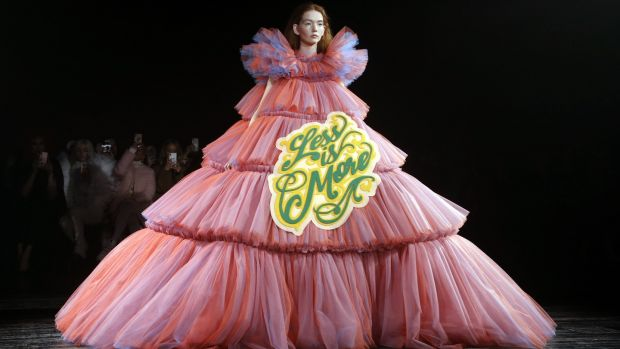 A model presents a creation by Viktor and Rolf during the 2019 Spring-Summer Haute Couture collection fashion show. Photograph: Francois Guillot/ AFP/Getty images
