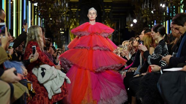Erin O'Connor walks the runway during the Schiaparelli Spring Summer 2019. Photograph: Pascal Le Segretain/Getty Images