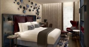 A deluxe room inside Dalata Hotel Group's new Clayton Hotel in the City of London.
