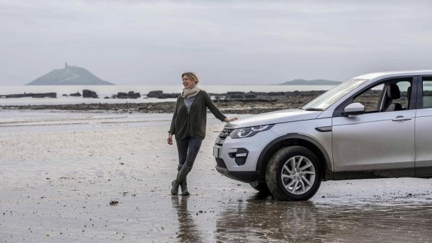 Rachel Allen and her Land Rover Discovery Sport on Ballycotton beach in Co Cork. Photographs: Clare Keogh