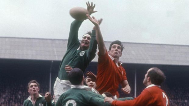 Willie John John McBride wins a lineout for Ireland against Wales in 1968. Photograph: Inpho