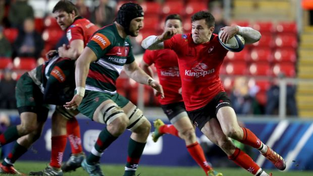 Ulster's Jacob Stockdale in action against Leicester during the Heineken Champions Cup game at Welford Road. Photograph: Dan Sheridan/Inpho