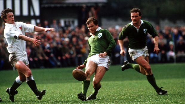 Hugo MacNeill in action against England at Lansdowne Road during the Five Nations in 1985. Photograph: Billy Stickland/Inpho