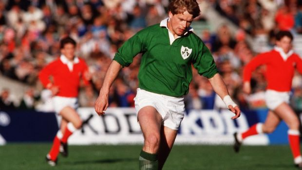 Trevor Ringland in action for Ireland at the first Rugby World Cup in 1987. Photograph: Billy Stickland/Inpho