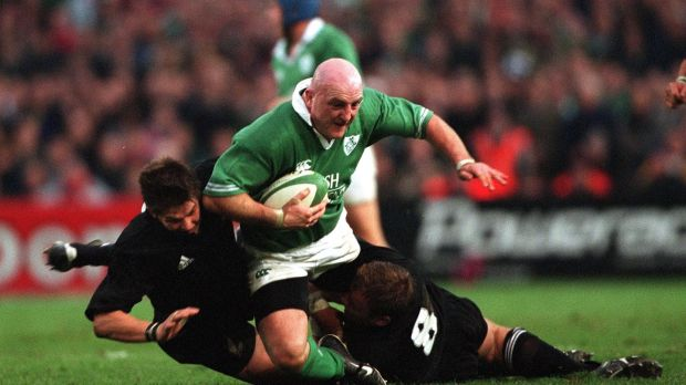 Keith Wood carries against the All Blacks in 2001. Photograph: Patrick Bolger/Inpho