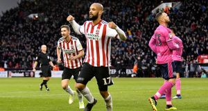 David McGoldrick celebrates scoring the opening goal  for Sheffield United during the Sky Bet Championship match against  Queens Park Rangers at Bramall Lane. Photograph: George Wood/Getty Images