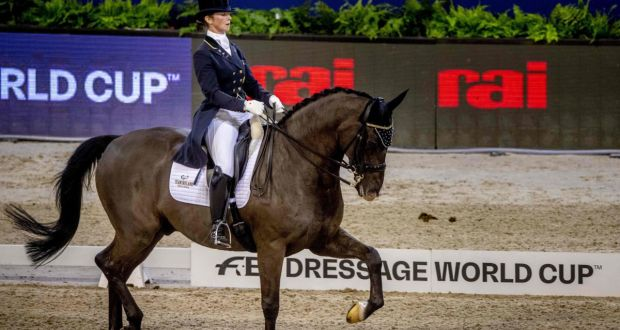 Judy Reynolds rides her horse Vancouver K during the FEI World Cup dressage competition at the Jumping Amsterdam 2019 tournament. Photograph:  Robin Utrecht/AFP/Getty Images