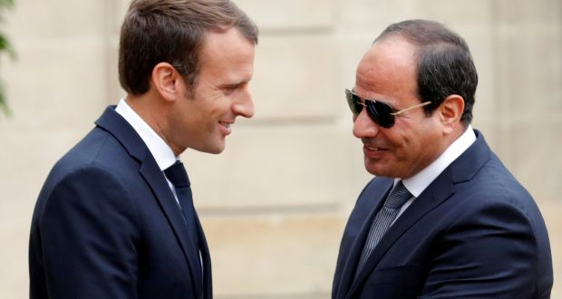 "French president Emmanuel Macron with Egyptian president Abdel Fattah al-Sisi in Paris on  October 24th, 2017: Mr Macron has emphasised the ""unavoidable"" necessity of maintaining good relations with Cairo. Photograph: Philippe Wojazer"