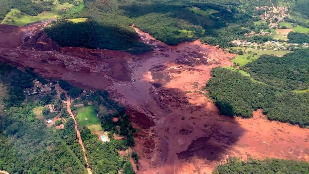 An aerial view taken after the collapse of a dam, which belonged to Brazil's giant mining company Vale, near the town of Brumadinho in southeastern Brazil. Photograph: Minas Gerais Fire Department/AFP/Getty Images