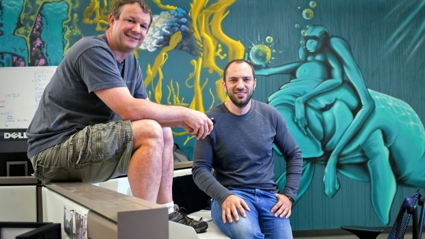 WhatsApp founders Brian Acton (L)and Jan Koum in 2013. Photograph: Peter DaSilva/The New York Times