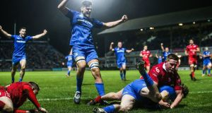 Leinster's Barry Daly scores a try during the Guinness Pro 14 game at the  RDS. Photograph: Tommy Dickson/Inpho