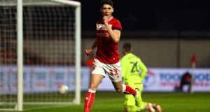 Callum O'Dowda  celebrates scoring  Bristol City's first  goal during the FA Cup fourth-round match against  Bolton Wanderers at Ashton Gate. Photograph: Michael Steele/Getty Images