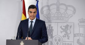 Spanish prime minister, Pedro Sanchez, delivers a statement at Moncloa Presidential Palace in Madrid, Spain, January 26th. Photograph: Victor Lerena/EPA