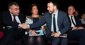 Deputy leader of Fianna Fail Dara Calleary (left), Sinn Féin leader Mary Lou McDonald (second left), SDLP leader Colum Eastwood and Minister for Education Joe McHugh (right) at today's conference in Belfast. Photograph: Brian Lawless/PA