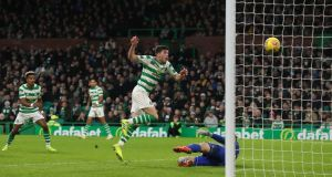 Celtic's Ryan Christie scores his side's second goal during the Scottish Premiership match against Hamilton at Celtic Park. Photograph: Andrew Milligan/PA Wire