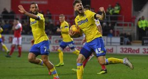 Leeds United's Mateusz Klich celebrates scoring his team's first goal during the Championship match against Rotherham at New York Stadium. Photograph: Dave Howarth/PA Wire