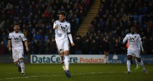Matt Doherty of Wolverhampton Wanderers celebrates after scoring his team's second goal during the FA Cup fourth round clash with Shrewsbury Town at New Meadow. Photo: Gareth Copley/Getty Images