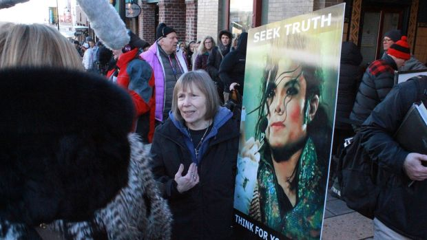 A protester at the screening of Leaving Neverland at the Sundance film festival in Utah. Photograph: Jason Bailey/The New York Times