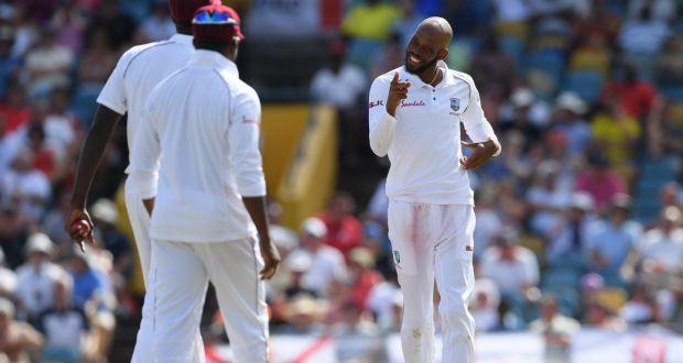Roston Chase of West Indies celebrates after taking the wicket of Moeen Ali of England during day four of the first Test at Kensington Oval  in Bridgetown, Barbados. Photograph: Shaun Botterill/Getty Images