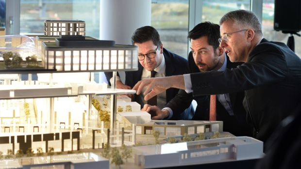 Minister for Housing Eoghan Murphy (C) with Brian Moran, senior managing director with Hines' Dublin and Paul van Stiphout, senior portfolio manager at APG Asset Management, (left) at announcement of the construction of new apartments at Cherrywood in December 2018. Photograph: Dara Mac Dónaill/The Irish Times