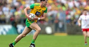 Michael Langan scored 0-4 for Donegal as they beat Clare. Photograph: Laszlo Geczo/Inpho