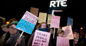 "Supporters and members of the transgender community outside the  RTÉ studios last week protesting over the broadcast of a ""Prime Time"" interview with  Graham Linehan. Photograph: Tom Honan"