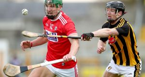 Cork's Aidan Walsh is challenged by Enda Morrissey of Kilkenny. Photograph: James Crombie/Inpho