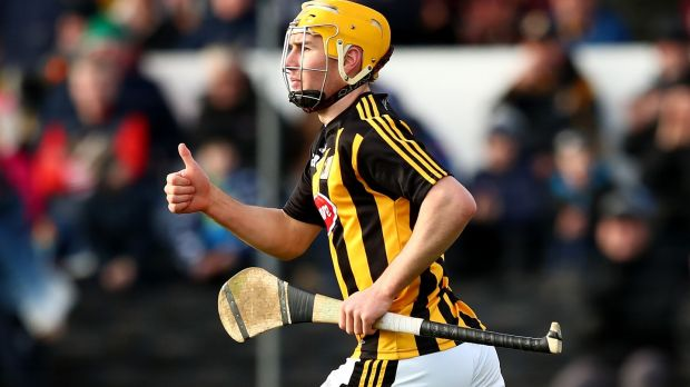 Richie Leahy celebrates scoring his side's first goal against Kilkenny. Photograph: James Crombie/Inpho