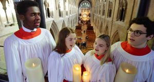 Daniel Ohoka, Ella Giles, Sofia-Rose Deeleman and Andreï Zündell, members of King's Hospital School chapel choir, at a service in St Patrick's Cathedral  to mark the school's 350th anniversary. Photograph: Alan Betson / The Irish Times
