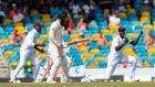 Jason Holder of West Indies celebrates taking the catch to dismiss Moeen Ali of England during day four of the first Test at Kensington Oval, Bridgetown, Barbados, on Saturday. Photograph; Getty Images