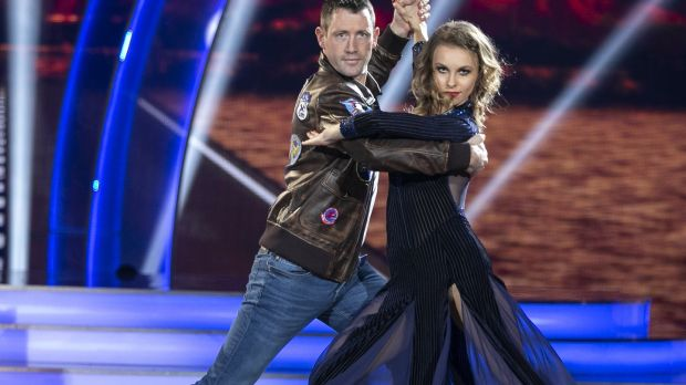 Denis Bastick with Valeria Milova dancing take on the Tango to Danger Zone from Top Gun. Photograph: Kyran O'Brien