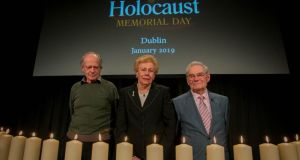 Irish Holocaust survivors (from left to right) Walter Sekules, Suzi Diamond and Tomi Reichenthal attending the Holocaust Memorial Day commemoration in the Mansion House, Dublin on Janauary 27th Photo: Gareth Chaney/Collins