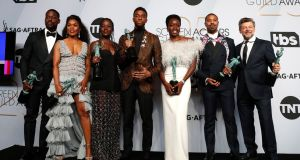 Screen Actors Guild Awards: The cast for Black Panther pose with the SAG Award for Outstanding Performance by a Cast . Photograph: Nina Prommer/ EPA