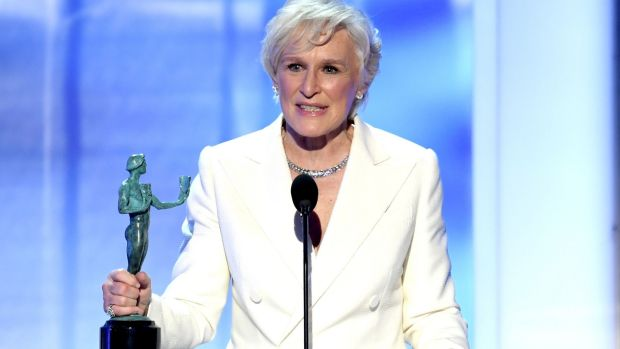 Screen Actors Guild Awards: Glenn Close accepts Outstanding Performance by a Female in a Leading Role for The Wife. Photograph:Kevin Winter/Getty Images