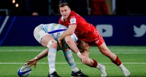 Welsh scrumhalf Gareth Davies in action for the Scarlets against Racing 92 earlier this month. Photograph: Getty Images