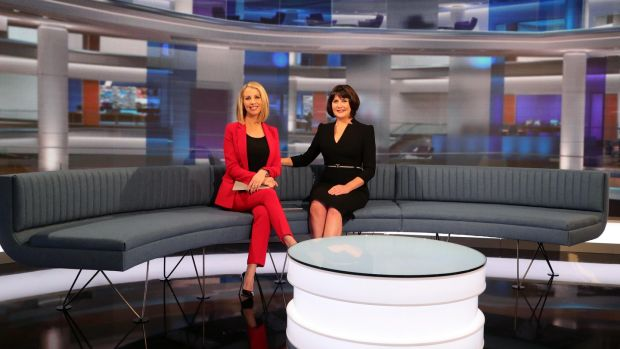28/01/'19 RTE News anchors, Keelin Shanley and Catrions Perry pictured in the new RTE News TV studio this morning at RTE Donnybrook. The new studio goes into operatipon today..Picture Colin Keegan, Collins Dublin. ***NB EMBARGO ON ALL PLATFORMS IN PLACE UNTIL 2pm THIS AFTERNOON 28th Jan '19**