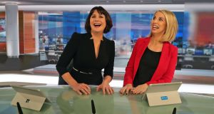 News anchors Keelin Shanley and Catriona Perry in the new TV news studio. Photograph: Colin Keegan, Collins Dublin