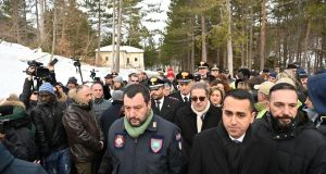 Italian deputy premier and labour and industry minister Luigi Di Maio with joint deputy premier and interior minister Matteo Salvini, at a commemoration marking the second anniversary of the Rigopiano Hotel avalanche disaster that claimed 29 lives, in Rigopiano, in the Abruzzo region. Photograph: Claudio Lattanzio/EPA