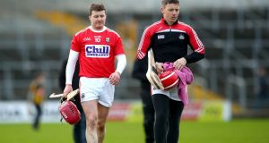 Cork's Daniel Kearney and goalkeeper Anthony Nash following the defeat to Kilkenny at Nowlan Park. Photograph: James Crombie/Inpho