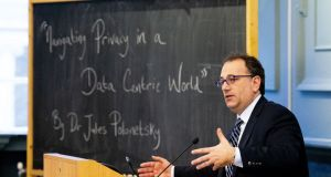 Dr Jules Polonetsky delivers his lecture 'Navigating Privacy in a Data Centric World' at Trinity College Dublin. Photograph:Tom Honan/The Irish Times