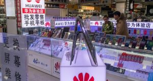 Huawei products  in Beijing. Photograph: Gilles Sabrié/The New York Times
