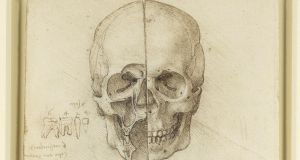 The skull sectioned, a pen and ink drawing with traces of black chalk by Leonardo da Vinci. Photograph: Royal Collection Trust
